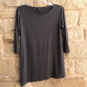 Eileen Fisher Gray Asymmetrical Tunic Top 3/4 Slve